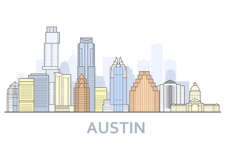 Austin cityscape, Texas - city panorama of Austin, skyline of downtown 矢量图像