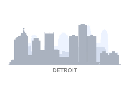 Silhouette of Detroit skyline - panorama of Detroit, city downtown outline