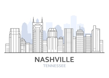 Nashville city skyline, Tennessee - cityscape of Nashville, skyline of downtown, lineart Illustration