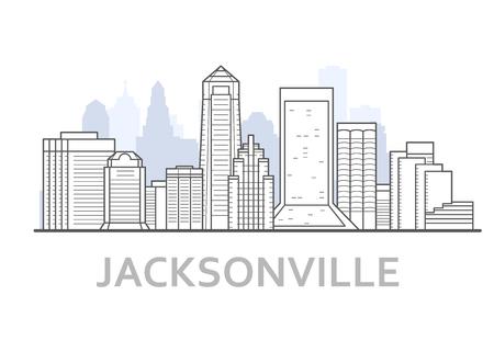 Jacksonville city skyline, Florida - outline of downtown of Jacksonville,  cityscape Stock Vector - 132169700
