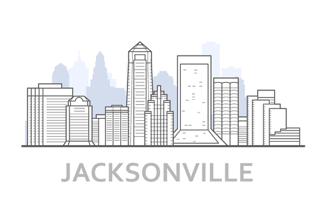 Jacksonville city skyline, Florida - outline of downtown of Jacksonville,  cityscape Illustration