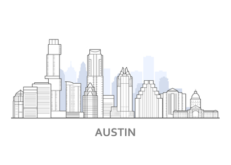 Austin city skyline, Texas - outline of downtown of Austin,  cityscape
