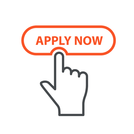 Finger pressing button Apply Now - job placement and file an application concept