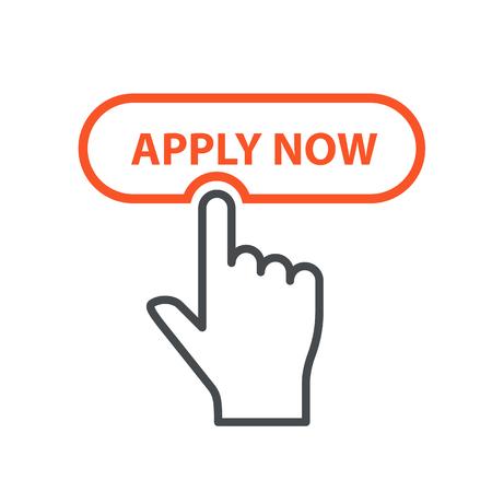 Mit dem Finger auf den Button Jetzt bewerben - Stellenvermittlung und Bewerbungskonzept einreichen
