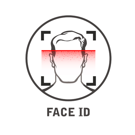 Face id scan icon - facial scanner for smart phone or laptop, face scanning process  イラスト・ベクター素材
