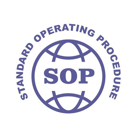 Sello SOP - Emblema de procedimiento operativo estándar Ilustración de vector