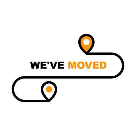 We zijn verhuisd icoon - hervestiging, verhuizing en e-commerce levering of overdracht teken Vector Illustratie