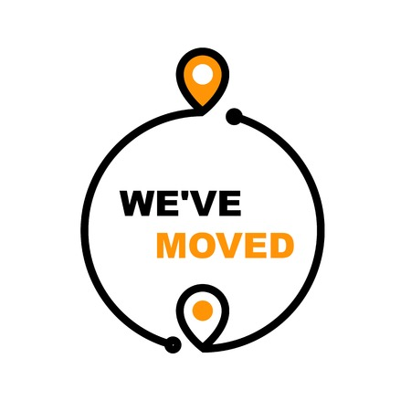 We have moved - office relocation icon, business transfer and moving sign