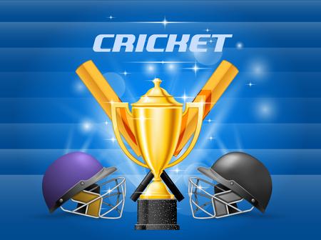 Cricket championship - cricket helmet, bat and gold cup, contest