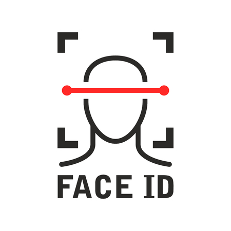 Face id icon - recognition identification scan system, face scanning process