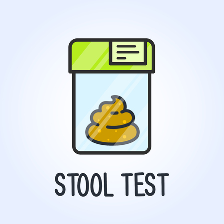 Laboratory stool test icon - poo in plastic bag, medical analysis