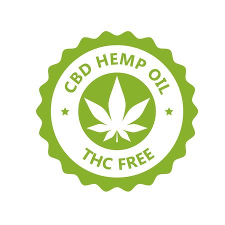 CBD hamp oil label, THC free icon, marijuana oil label