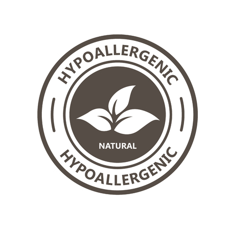 Hypoallergenic product label with leaf - natural hypoallergenic tested stamp Фото со стока - 132284406