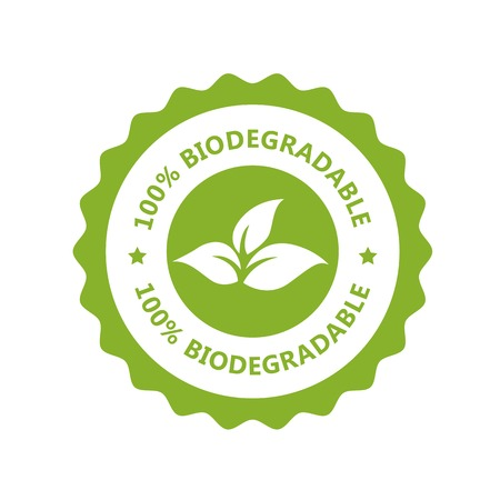 Biodegradable, plastic free icon - compostable product label, eco seal Vector Illustration