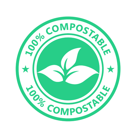Compostable product label, plastic free icon - eco seal for non toxic pack