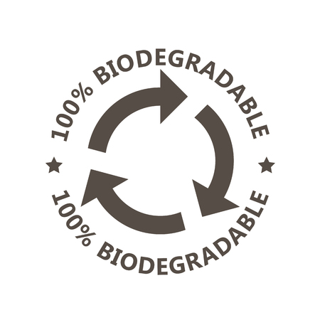 Biodegradable sign - plastic free compostable product label, arrows circle, recycling