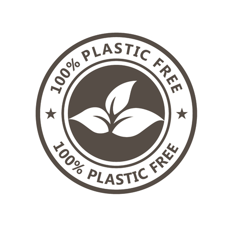 Plastic free product icon - eco seal for non toxic pack with leaves