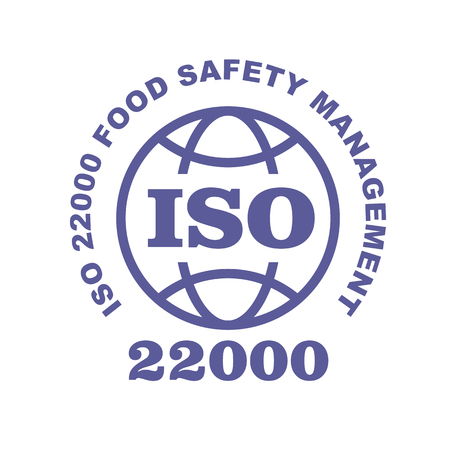 ISO 22000 stamp sign - food safety systems standard, web label or badge Çizim
