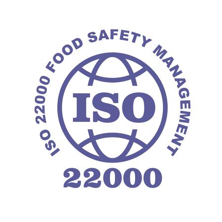 Segno timbro ISO 22000 - standard per sistemi di sicurezza alimentare, etichetta web o badge