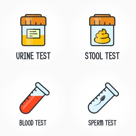Test di biologia umana, sperma, sangue, urina e icona del DNA delle feci, contenitori per test Vettoriali