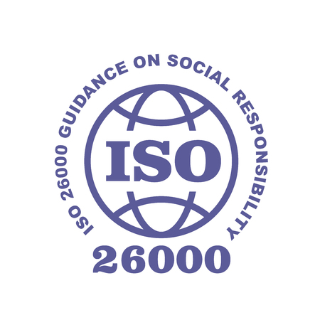 ISO 26000 stamp sign - guidance on social responsibility standard, web label or badge