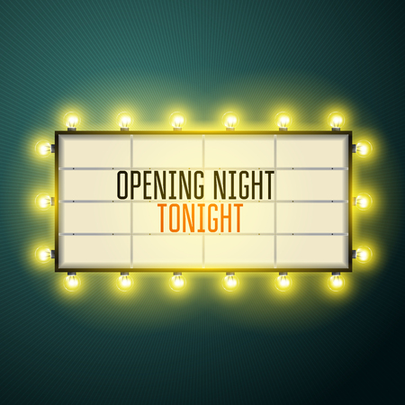 Retro movie theater marquee illuminated with old light bulbs - vintage light sign, frame or banner, billboard