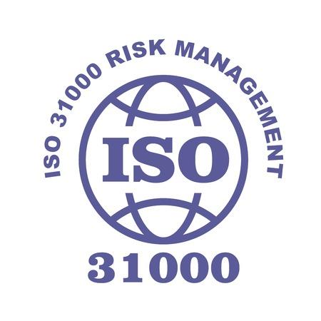 ISO 31000 stamp sign - guidance on risk management standard, web label or badge
