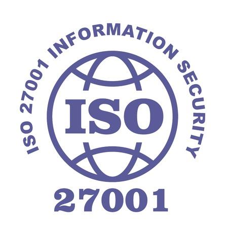 ISO 27001 stamp sign - information security standard, web label or badge  Çizim