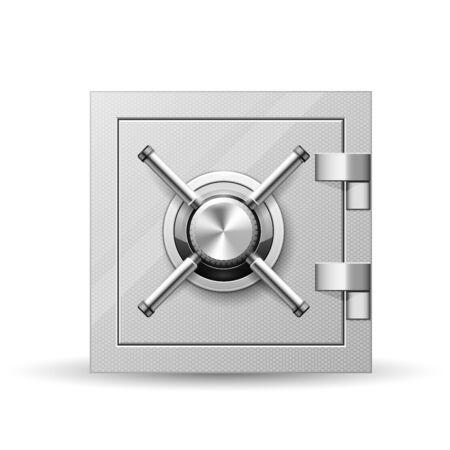 Vault with handle wheel - safe door, strongbox with rotary valve opener