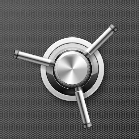 Vault safe door - wheel with three handles of strongbox, valve knob