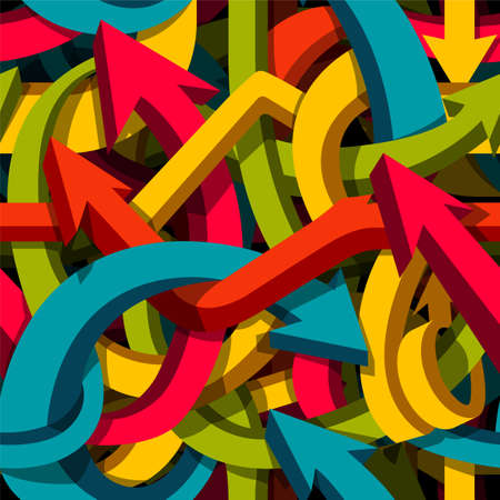 Abstract seamless arrows background, motley 3d arrows, confusion or puzzle concept, vector pattern