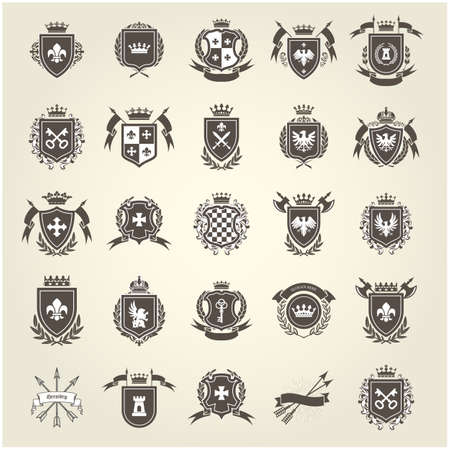 Medieval royal coat of arms, knight emblems, heraldic shield crest and blazons set, vector