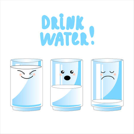 glass of water.drink more water. graphic design concept of the benefits of drinking water, reasons to drink water