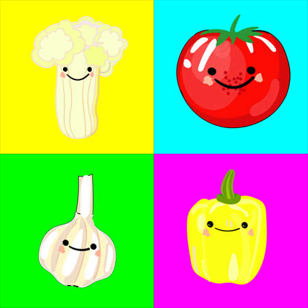 Memory game for children of preschool age. A set of paired cards for the development and training of children's memory. Postcards on the subject of VEGETABLES. Vector illustration Illustration