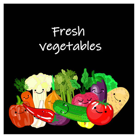 Realistic vector Vegetables with concept for Organic Shop on black background. Mock-Up template for Vegetal presentation. Vegan Organic Food, Produce of carrot, tomatoes and selery