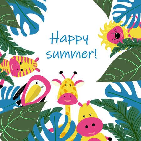Banner o tarjeta para fiesta de verano de imagen vectorial de hojas tropicales