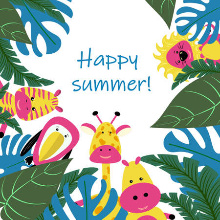 Banner or card for summer party of tropical leaves vector image