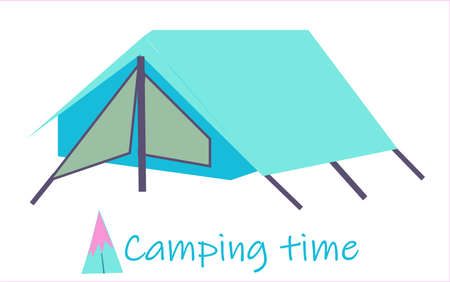 Summer camp. tourist tent on a white isolated background
