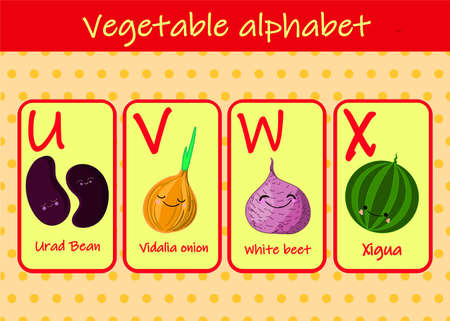 Illustration with funny characters. Children's font in cartoon style VEGETABLES . Set of multicolored bright letters for inscriptions AND TRAINING. Vector illustration of the alphabet..