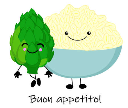 cooked boiled rice with artichokes. National Italian food. Vector illustration Vetores