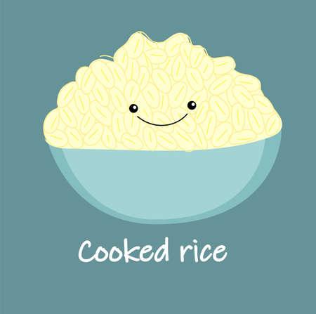 cute white cooked rice cartoon vector. Thai food. Bowl, Bowl Hand Drawn Vector Illustration.