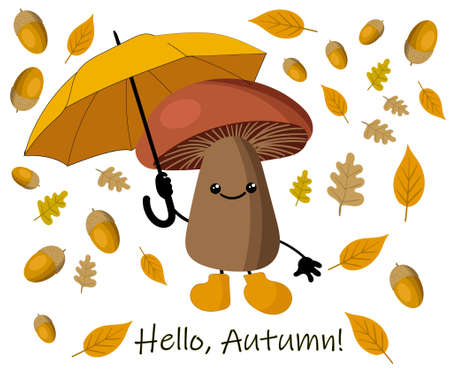 Autumn background with yellow leaves and umbrella from the rain. autumn mushroom