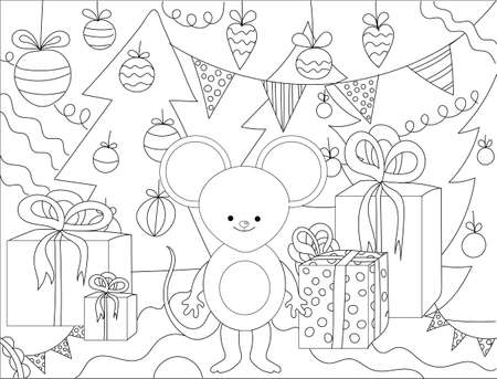 Hand drawing coloring for kids and adults.Set of Christmas hand-drawn decorative elements in vector. Fancy Christmas trees, balls, stars. Pattern for coloring book. Black and white pattern. Sketch by