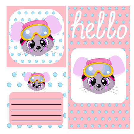 Greeting cards. Birth of a newborn. Registration of children's photos. Cute little mouse in the cap.
