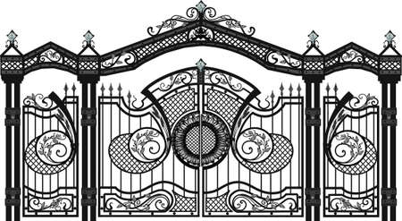 House gate and fence vector. wallpaper. FORGED PRODUCTS