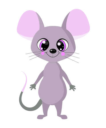 cute mouse with big eyes. On a white background. The symbol of 2020 is the rat.