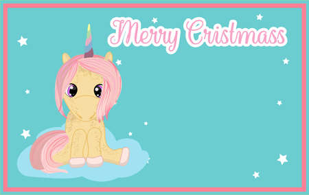 New year card with cute pink unicorn. There is a place for your text.