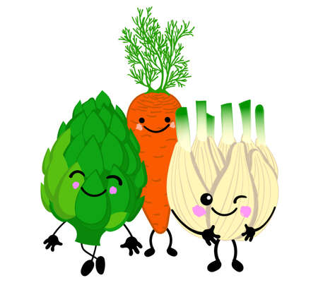 set of cute vegetables with eyes and smiles on a white background.