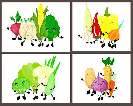 set of cute vegetables with eyes and smiles on a white background. In collection 4 pictures
