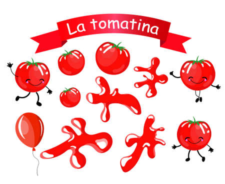 Stickers. Isolated objects for decoration of the Spanish Festival of the Battle of Tomatoes La Tomatino